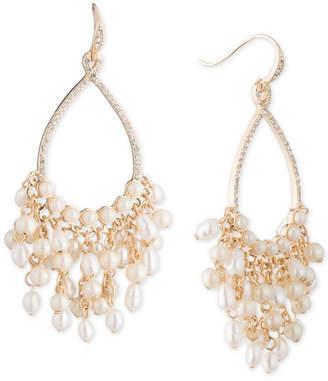 """Carolee Gold-Tone Crystal & Imitation Pearl 2 1/2"""" Drop Hoop Earrings"""