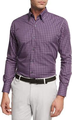 Peter Millar Autumn Check Cotton Sport Shirt, Purple