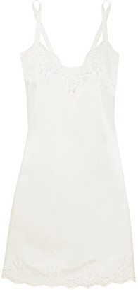 Lace-trimmed Stretch Silk-blend Satin Chemise - White
