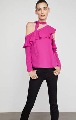 BCBGMAXAZRIA Cold Shoulder Asymmetrical Ruffle Blouse