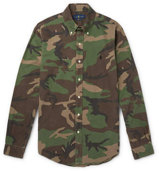 Polo Ralph Lauren Slim-Fit Button-Down Collar Camouflage-Print Cotton-Oxford Shirt