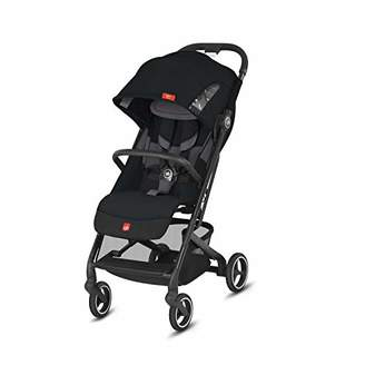 GB Gold Qbit+ All-City Compact Pushchair, Lie-Flat Reclining Seat, from Birth to 17 kg (Approx. 4 Years), Black Frame, Velvet Black