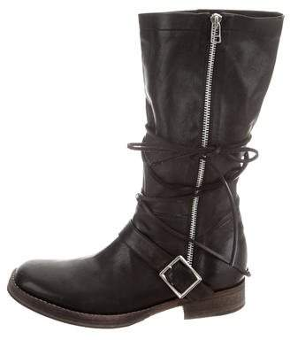Undercover Leather Mid-Calf Boots