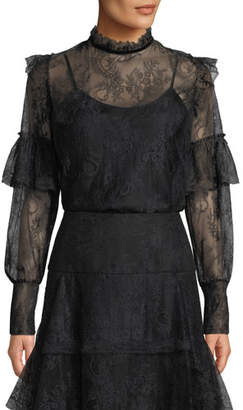 Josie Natori Mock-Neck Long-Sleeve Lace Top w/ Camisole