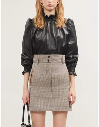 Sandro Checked twill mini skirt