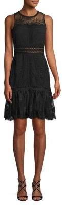Jonathan Simkhai Scalloped Ripple Tier Ruffle Lace Dress