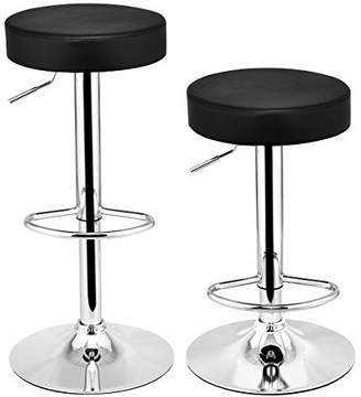 COSTWAY Swivel Bar Stool Round PU Leather Height Adjustable Chair Pub Stool w/Chrome Footrest (Black