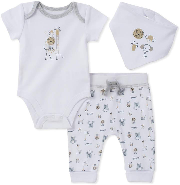 White & Gray Jungle Short-Sleeve Bodysuit & Pants - Newborn & Infant