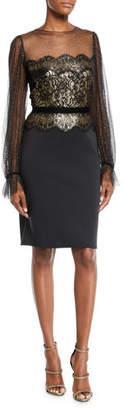 Tadashi Shoji Metallic Lace & Chiffon-Sleeve Dress
