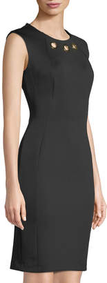Iconic American Designer Sleeveless Grommet-Neck Sheath Dress