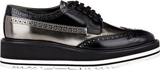 Prada Women's Wingtip Brogue Platform Sneakers-BLACK $975 thestylecure.com