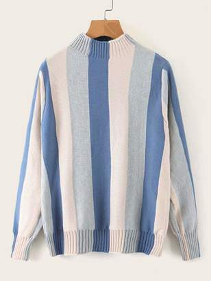 Shein Color-block Striped Stand Collar Sweater