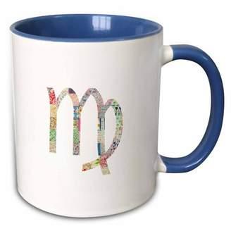 3dRose Virgo symbol colorful girly design - pastel horoscope zodiac sign - Two Tone Blue Mug, 11-ounce