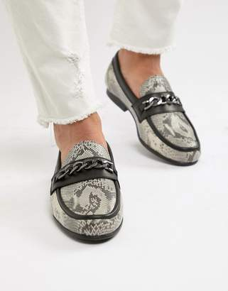 Asos EDITION loafers in snake print with snaffle