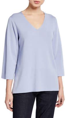 Eileen Fisher Plus Size V-Neck 3/4-Sleeve Merino Wool Top