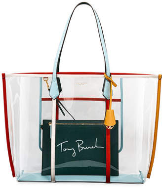 Tory Burch Perry Oversized Colorblock See-Through Tote Bag