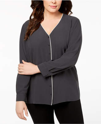 Eileen Fisher Plus Size Silk Piped-Trim Blouse