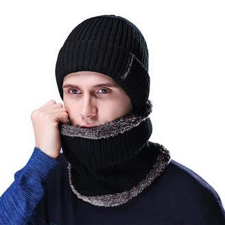 at Amazon Canada · AIEOE Men s Beanie Hat Scarf Set Beanie Winter Thick  Warm Hats with Soft Fleece Lining Skiing c643d97c898b