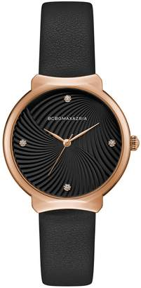 BCBGMAXAZRIA Classic Stainless Steel & Leather-Strap Watch