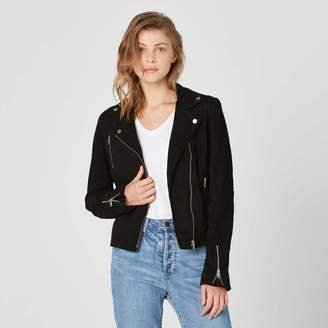 DSTLD Womens Suede Moto Jacket in Black