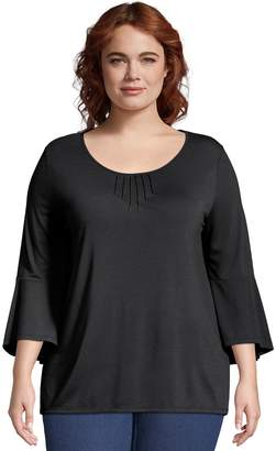 Just My Size Plus Size Bell Sleeve Pin-tuck Top
