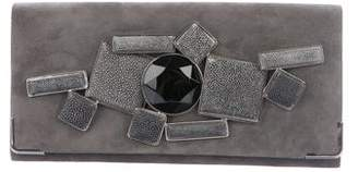 Giorgio Armani Bejeweled Suede Clutch