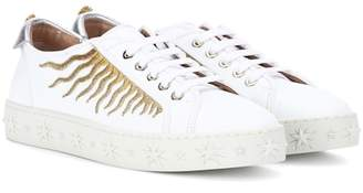 Aquazzura Surflask embroidered leather sneakers