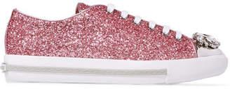 Miu Miu Embellished Glittered Leather Sneakers - Pink