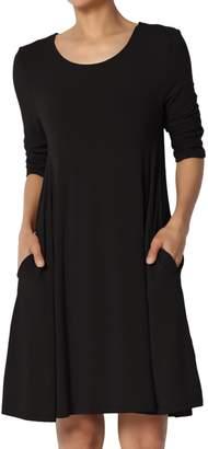 Ash TheMogan Women's 3/4 Sleeve Soft Hacci Knit Fit & Flare A-Line Dress 3XL