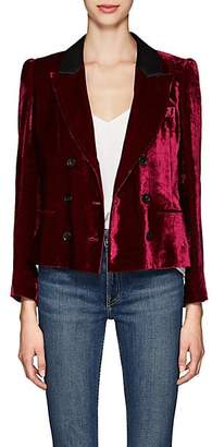 Masscob Women's Marion Velvet Double-Breasted Crop Blazer - Wine