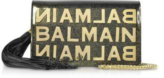 Balmain Khaki Glittered Shiny Leather Clutch w/Chain Strap and Metallic Logo