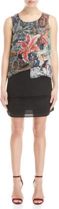 Desigual Printed Layered Shift Dress