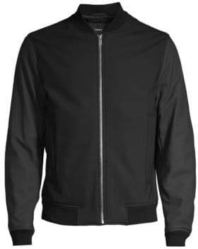 Theory Brenton Leather-Sleeve Stretch Wool Bomber Jacket
