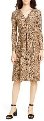 HVN Lauren Print Long Sleeve Silk Shirtdress