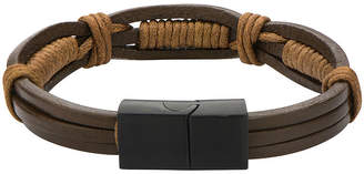JCPenney FINE JEWELRY Mens Brown Leather and Rope Wrap Bracelet