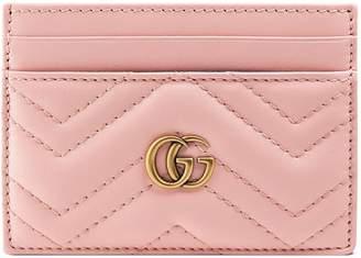 Gucci Marmont Card Case Monogram Matelasse GG Perfect Pink
