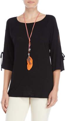 Paige Melissa Tie-Sleeve Necklace Slub Tee