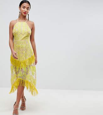 Asos DESIGN Petite embroidered square neck fringe hem midi dress