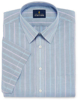 STAFFORD Stafford Travel Easy Care Broadcloth Short Sleeve Short Sleeve Broadcloth Stripe Dress Shirt- Big And Tall