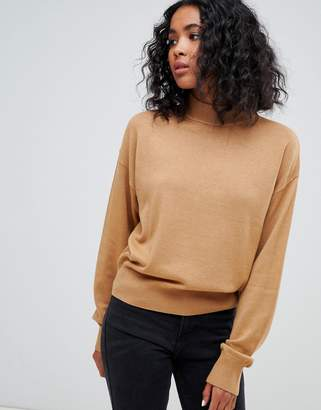 Asos DESIGN eco sweater in loose fit with turtleneck and balloon sleeve