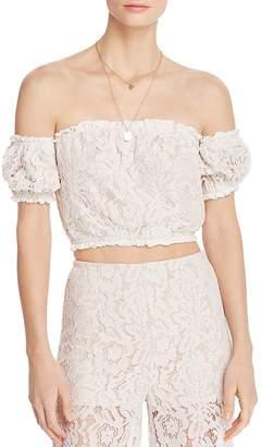 Aqua Off-the-Shoulder Lace Cropped Top - 100% Exclusive