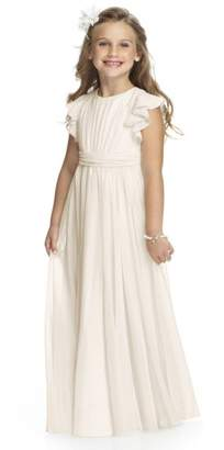 Dessy Collection Flutter Sleeve Long Chiffon Flower Girl Dress