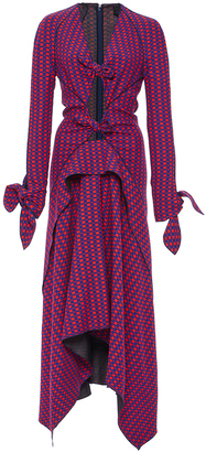Proenza Schouler Long Sleeve Printed Knot Dress $2,990 thestylecure.com
