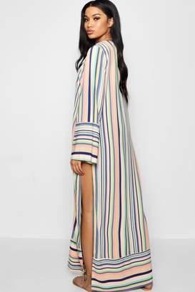 boohoo Kimmie Stripe Woven Maxi Kimono