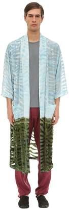 Triple Rrr Flocked Viscose Kimono Robe