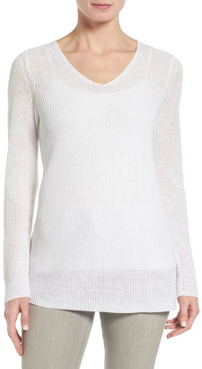 Eileen Fisher V-Neck Organic Linen Sweater $178 thestylecure.com