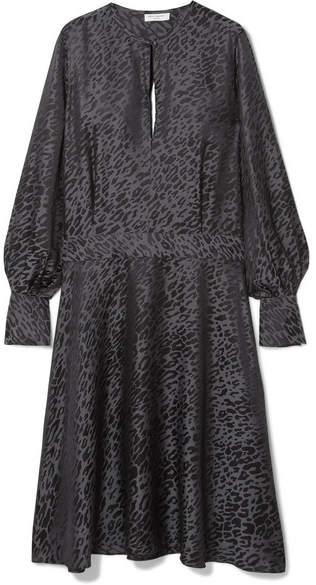 Magnolia Open-back Silk-blend Jacquard Midi Dress - Leopard print