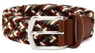 Andersons Anderson's - Multicoloured Leather And Stretch Viscose Belt - Mens - Brown Multi