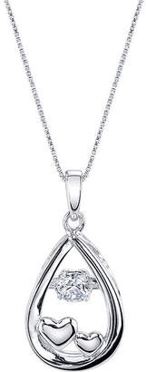 FINE JEWELRY Inspired Moments Dancing Cubic Zirconia Sterling Silver Love You To The Moon Pendant Necklace