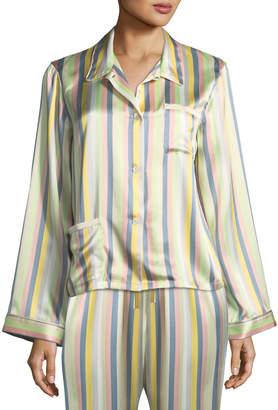 Neiman Marcus Morgan Lane Ruthie Sorbet-Striped Pajama Top